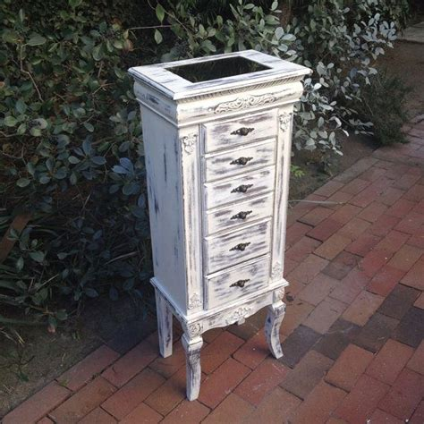 Standing Armoire Jewelry Box by Large White Jewelry Box Floor Standing Jewelry Organizer Shabby Chic Cottage Jewelry