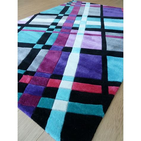 Funky Rugs Purple Infinite Funky Plaid Rug Carpet Runners Uk