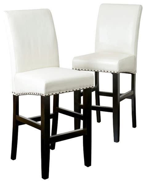 Ivory Leather Bar Stools by Clifton Leather Bar Stools Ivory Set Of 2