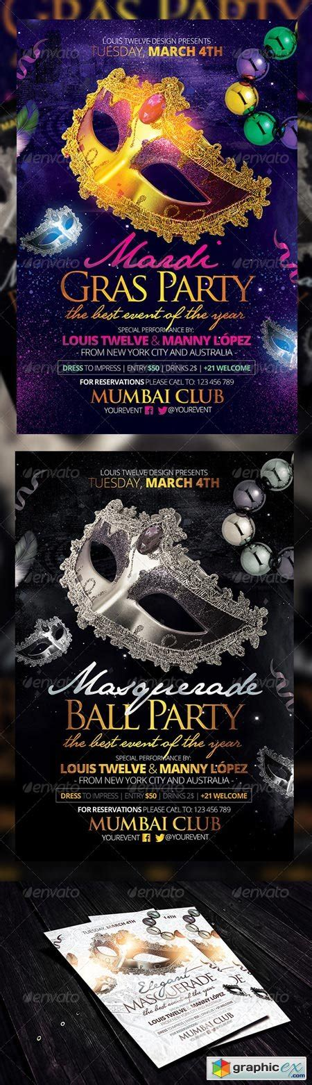 masquerade ball mardi gras party flyers template 6396796