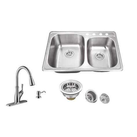 Brushed Steel Kitchen Sink Ipt Sink Company Drop In 33 In 4 Stainless Steel Kitchen Sink In Brushed Stainless With
