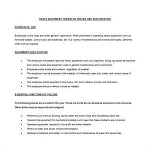 machine operator description templates 11 free sle exle format free