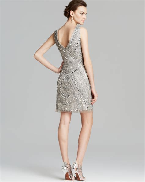 beaded silver dress aidan mattox dress sleeveless v neck beaded in metallic lyst