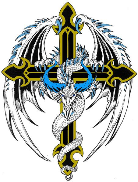 dragon and cross tattoos cross by bighood24 on deviantart