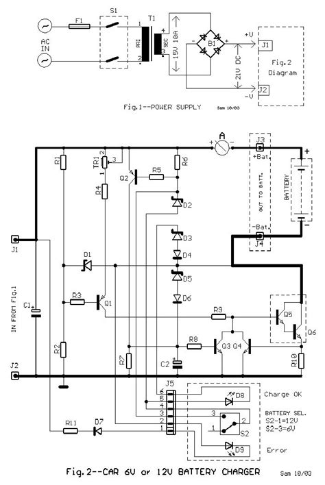 6V and 12V Car Battery Charger - Schematic Design