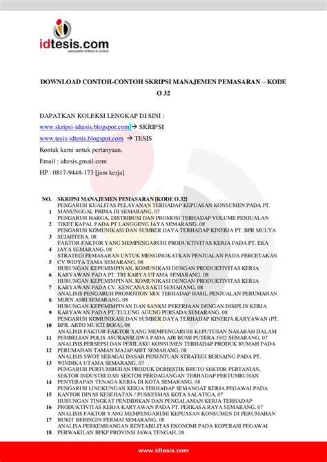 mitrarisetcom contoh skripsi tesis 4 contoh skripsi manajemen pemasaran kode o 32 by sanjaya