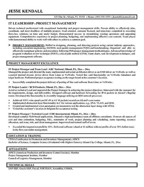 technical project manager resume format project manager resume exle