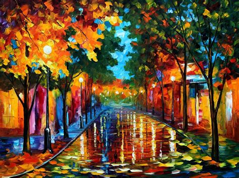 painting images fallen leafs palette knife oil painting on canvas by