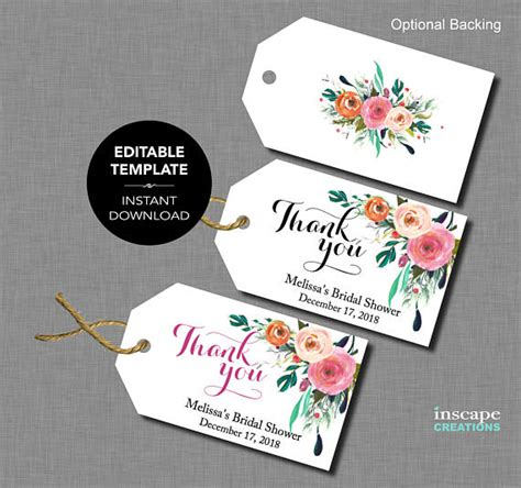 Editable Bridal Shower Favor Tags Template Floral Rustic Wedding Shower Thank You Note Template