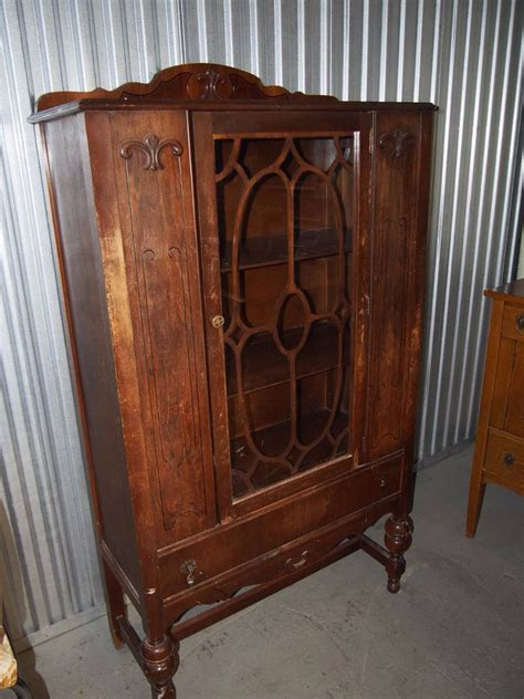 antique wood china cabinet glass door with drawer