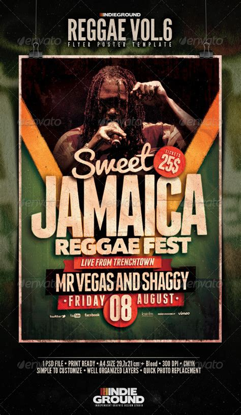 flyer design jamaica reggae flyer poster vol 6
