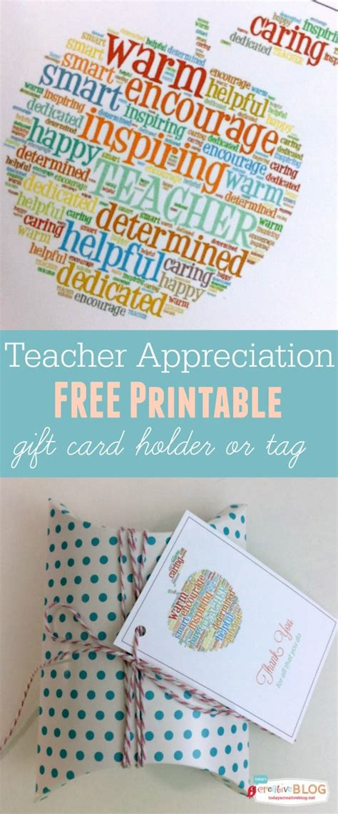My Free Gift Card - free printable teacher appreciation gift card holder