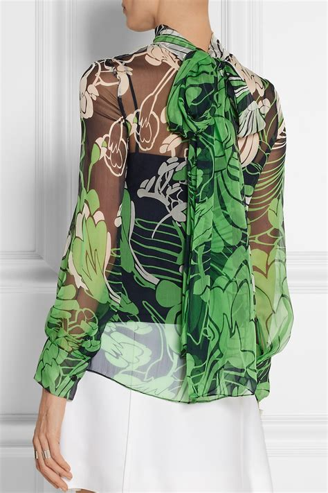 30753 Chiffon Blouse Green lyst miu miu floral print crinkled silk chiffon blouse in green