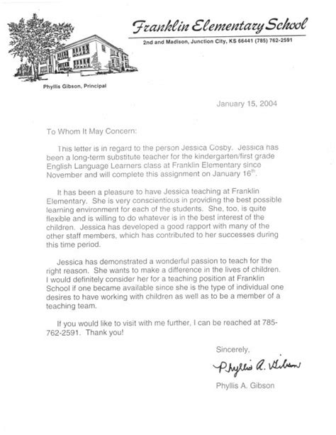 Recommendation Letter For Principal Principal Reference Letter 3 Elementary And Esl Helping Students Grow