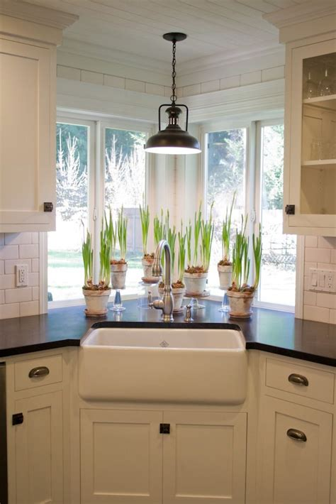 kitchen sink window  light fixture plants farmhouse