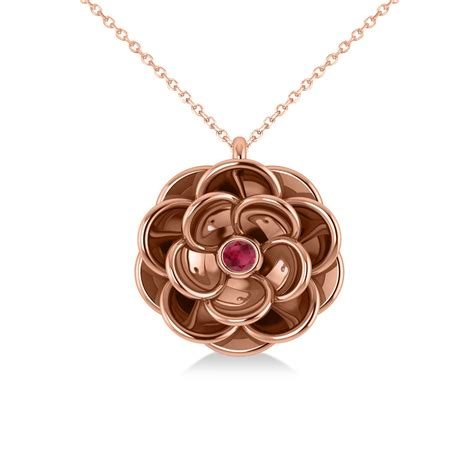 Ruby 5 05ct ruby flower pendant necklace 14k gold 0 05ct