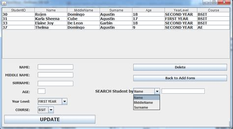 java swing combobox exle java how to search data in jtable using ms acess using