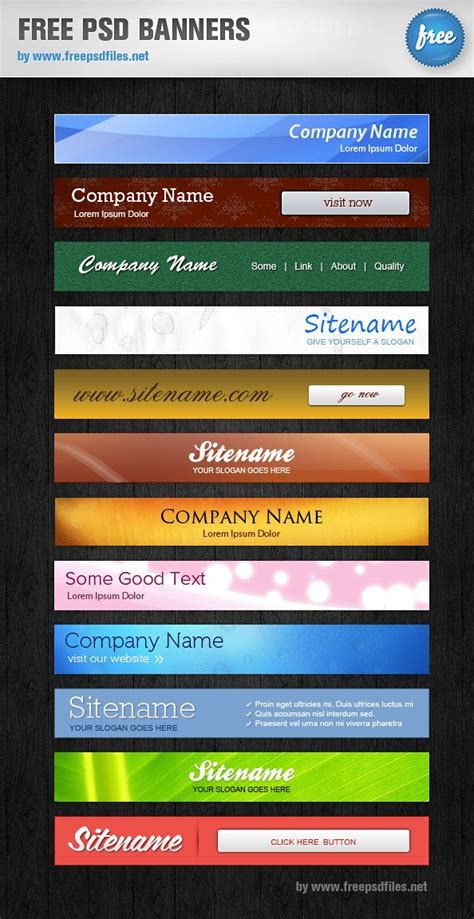 templates for banners free download free psd banners 12 banner templates free psd files