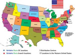 united states map location reliable parts locations in the united states reliable parts