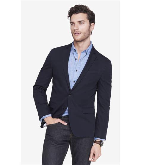 Blue Black Blazer lyst express slim photographer cotton blend navy blazer in blue for