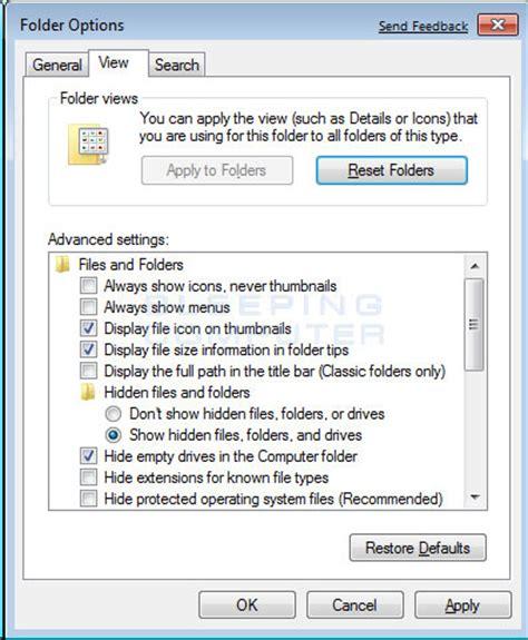 how to show hidden files in windows 7
