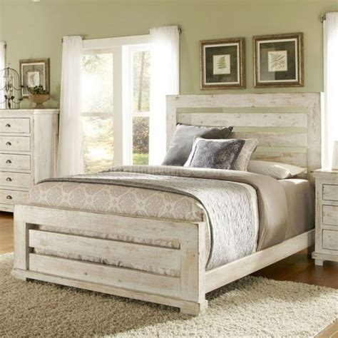 Rustic White Bedroom Furniture Bedroom Ideas Distressed White Stained Wooden Master Bed With Ladder Headboard And Footboard In