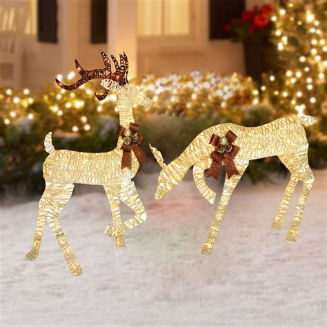 Lighted Outdoor Christmas Decoration Reindeer Holiday Xmas Lighted Decorations For Yard