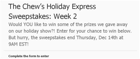 The Chew Sweepstakes 2017 - the chew s holiday express sweepstakes win exciting prizes
