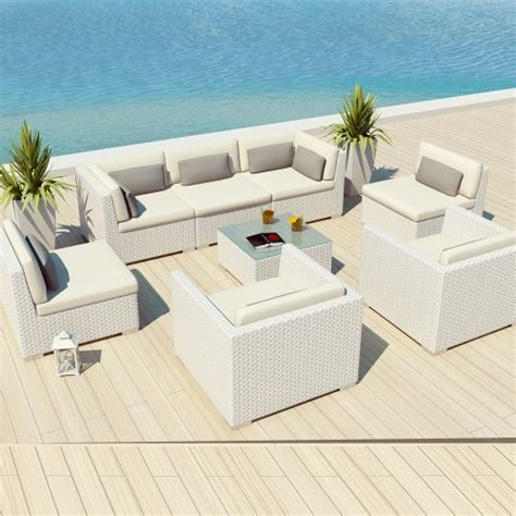 uduka outdoor patio furniture white wicker set daly 8 white all weather outdoor