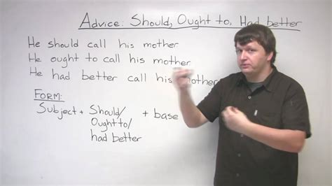 had better to v grammar giving advice should ought to had better