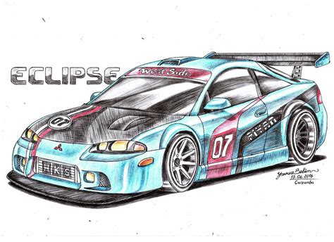 mitsubishi eclipse drawing mitsubishi eclipse gsx modified drawing by yavuzselim07