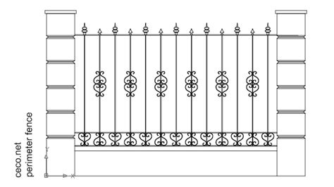 Boundary Wall Design wrought iron fence with stone columns block in decorative