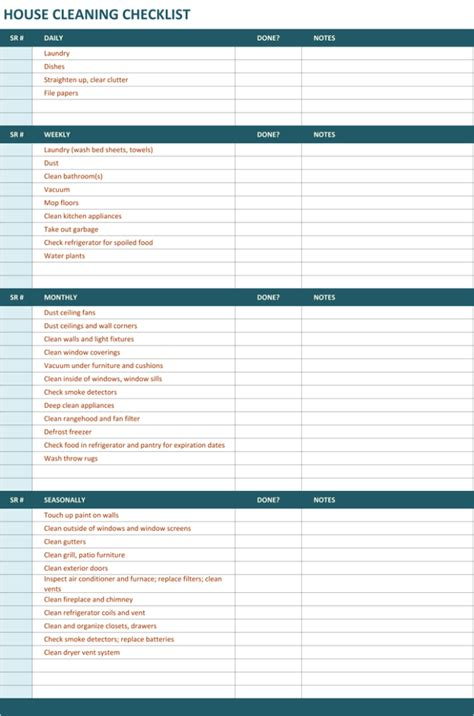 house cleaning checklist template to unify perfect cleaning
