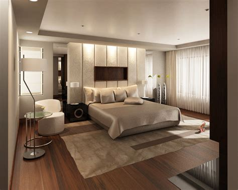 luxurious contemporary bedroom designs with bright interior design and padded wall panel and