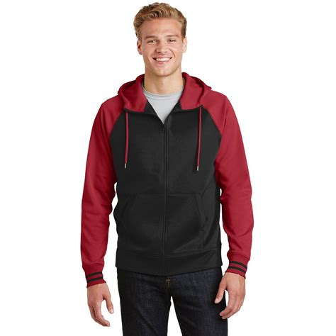 Jaket Zip Farsity Black sport tek st236 sport wick varsity fleece zip hooded jacket black fullsource