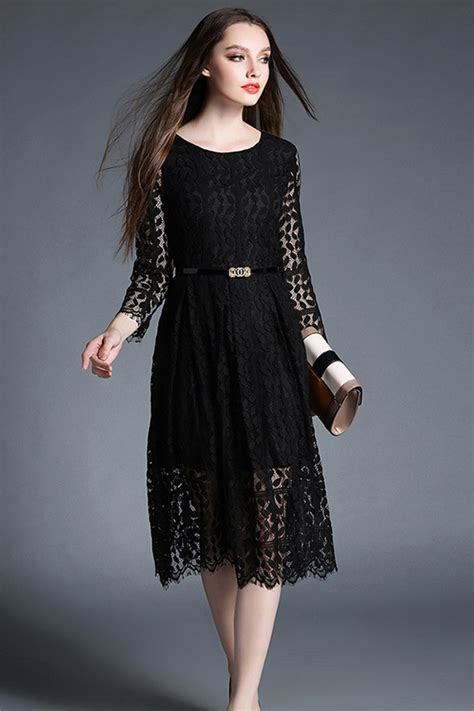 Sleeve Lace A Line Dress kettymore sleeves knee length lace a line dress