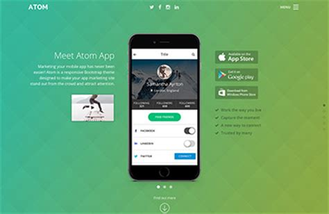 responsive bootstrap theme for mobile apps atom