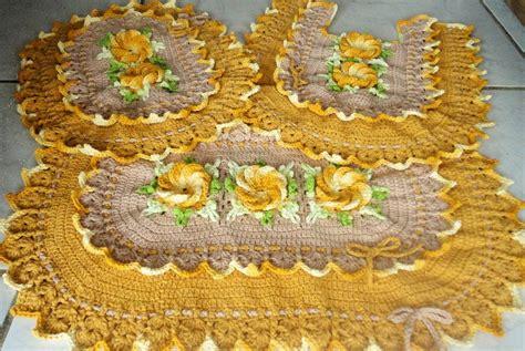 croche oval bico duplo tapete com flores jogo de banheiro croche oval jogo de banheiro oval bico duplo lu croch 234 design elo7
