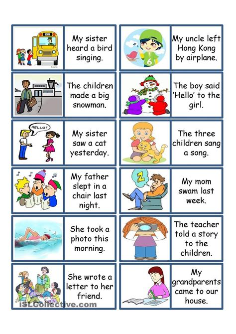 printable games for past tense past tense card game past simple pinterest