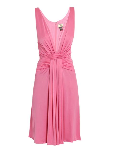 V Neck Dress Pink issa v neck dress in pink lyst