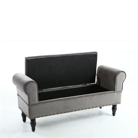 grey velvet ottoman royce ottoman storage chaise in grey velvet with wooden