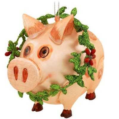 pig with wreath glass ornament trees nativity scenes