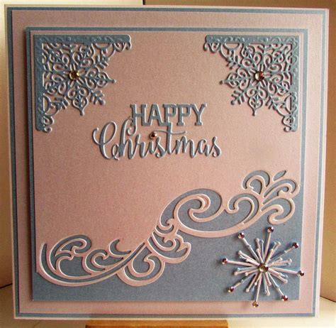 lizzies craft space die cut christmas card blue