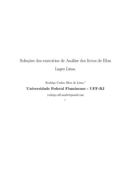 (PDF) Soluções dos exercícios de Análise dos livros de