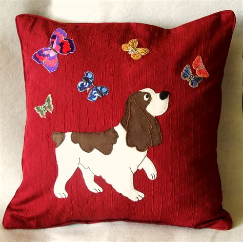 handmade applique decorative cushion cover springer