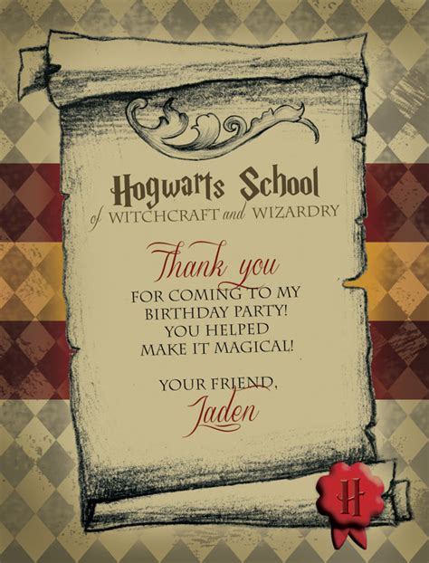 printable harry potter thank you cards harry potter thank you tags