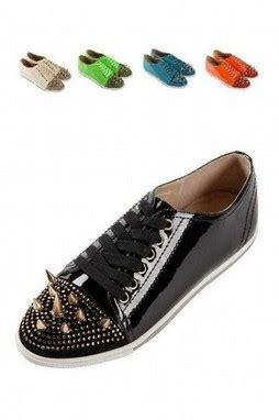 Garetha Studs Glossy Flats Shoes shoes sneakers patent glossy leather studs spike