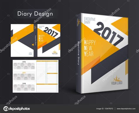 design diary cover diary cover design for new year 2017 stock vector