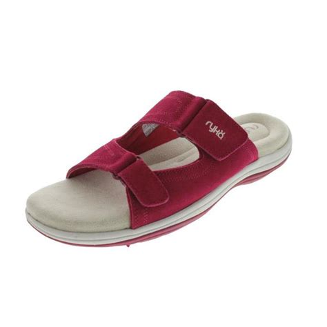 athletic slides shoes ryka womens kitt suede casual athletic slide sandals shoes