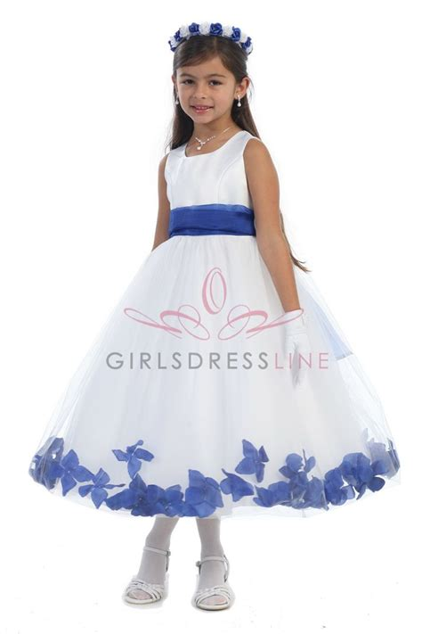 Dress Flower Rb white satin tulle flower dress with royal blue